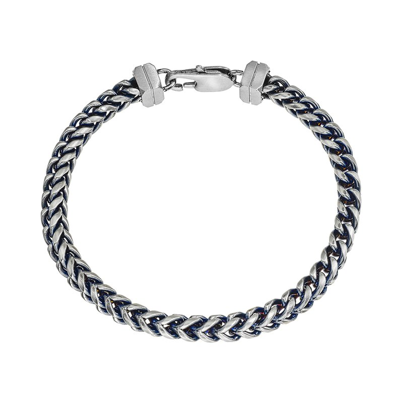 Esquire Men's Jewelry Blue Steel H-Bone Chain Bracelet