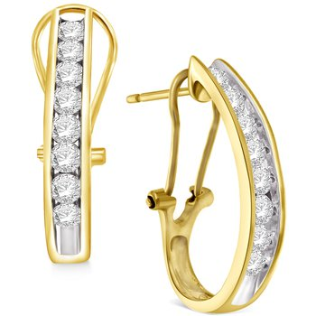 1 ctw Diamond J Hoop Earrings RG/WG/YG