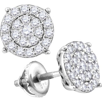 1/4 ctw Round Cluster Diamond Earrings