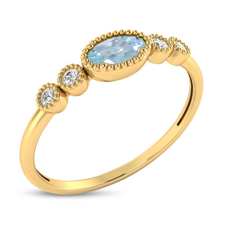 Birthstone Collection 10K Yellow Gold Oval Aquamarine and Diamond Birthstone Ring