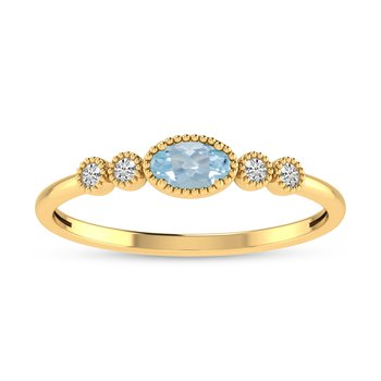 10K Yellow Gold Oval Aquamarine and Diamond Birthstone Ring