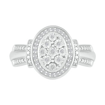 .12ctw Oval Cluster Diamond Promise Ring