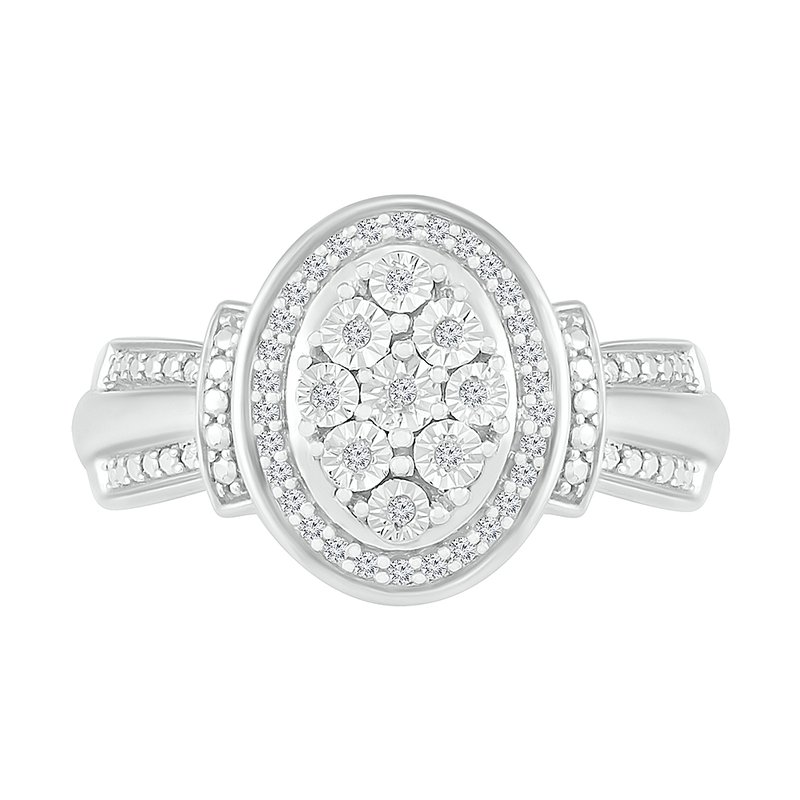 Gifts That Rock .12ctw Oval Cluster Diamond Ring