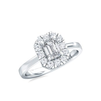 1/4ctw Diamond Emerald Cut Halo Ring