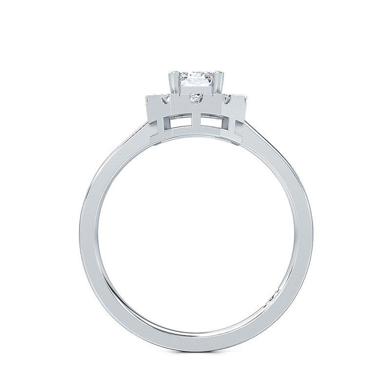 Lab Grown Diamonds 1/4ctw Diamond Emerald Cut Halo Ring