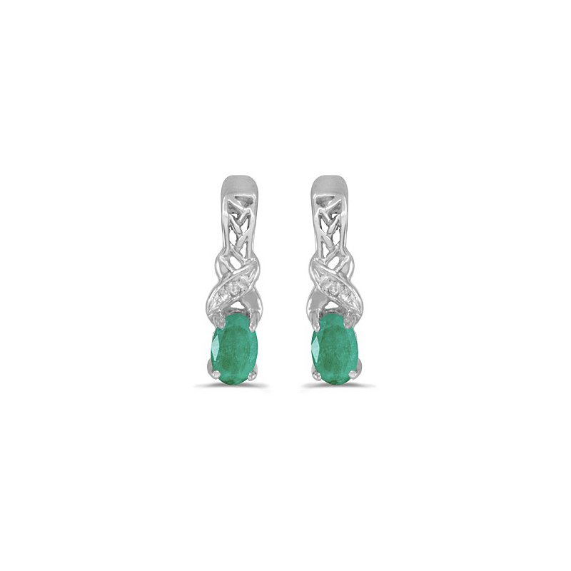 Birthstone Collection 14k White Gold Oval Emerald And Diamond Earrings