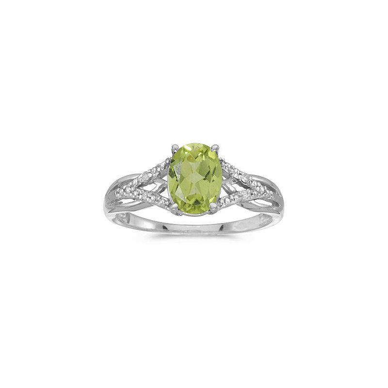 Birthstone Collection 10K White Gold Oval Peridot And Diamond Ring