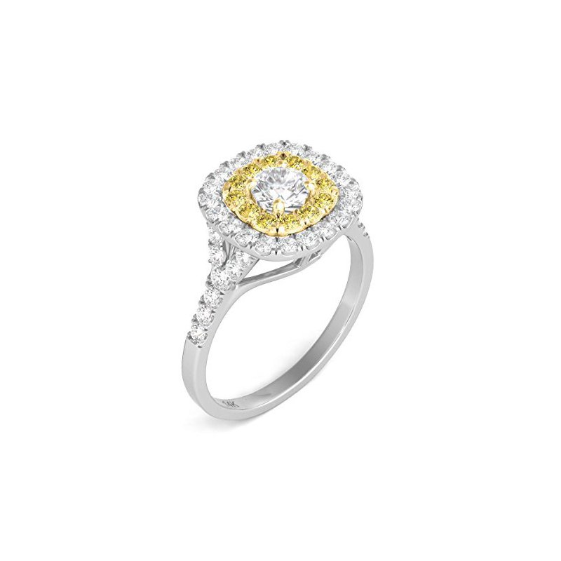 Promise Forever Certified 1ctw Double Halo W/Yellow Diamonds Engagement Ring