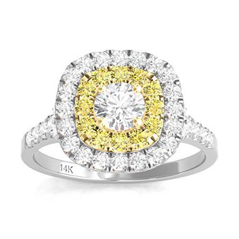 Certified 1ctw Double Halo W/Yellow Diamonds Engagement Ring