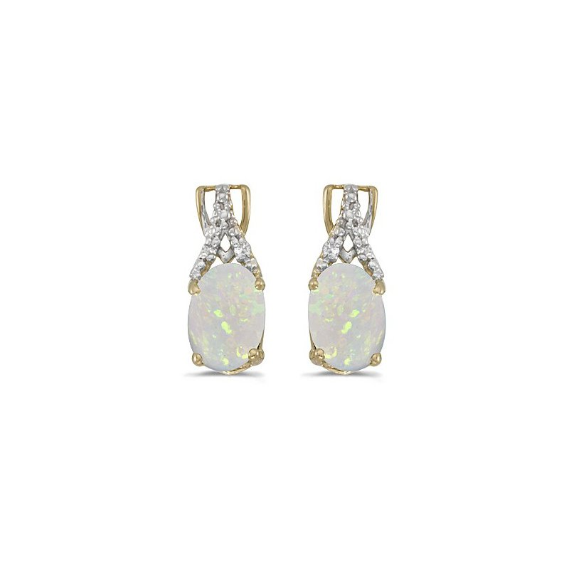 Birthstone Collection 14k Yellow Gold Oval Opal And Diamond Earrings