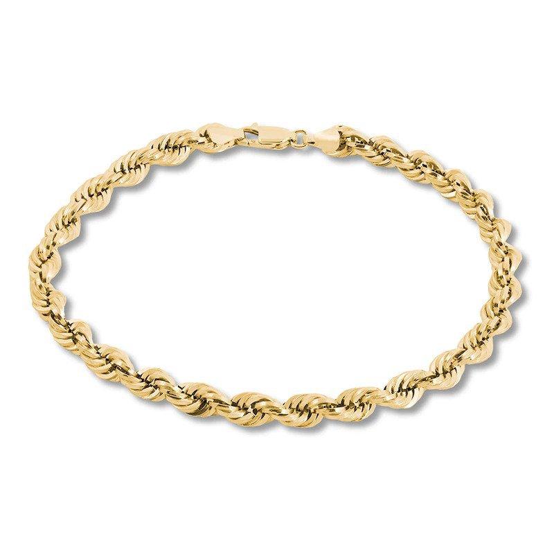 "Gold Chains and Bracelets  14ky 8"" 3.1mm Diamond Cut Rope Bracelet"