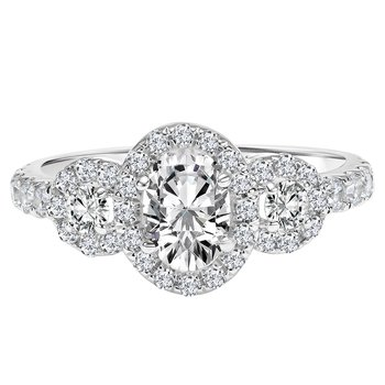 Certified 1.5ctw Oval Halo Ring
