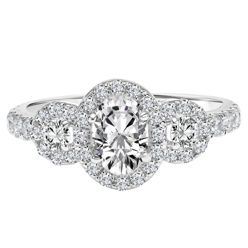 Lab Grown Diamonds Certified 1.5ctw Oval Halo Ring