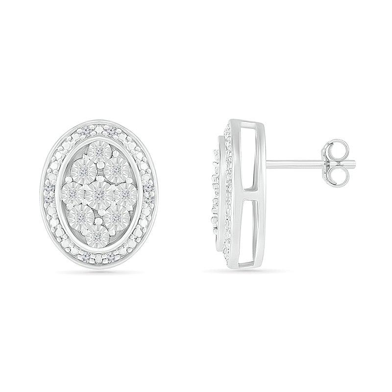 Saslow's & Henebry's Collection .10ctw Oval Cluster Diamond Earrings