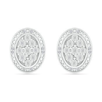 .10ctw Oval Cluster Diamond Earrings
