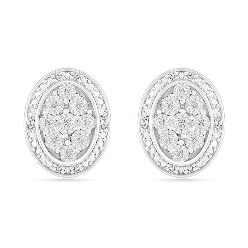 Saslow's & Henebry's Collection .10ctw Oval Cluster Diamond Earrings