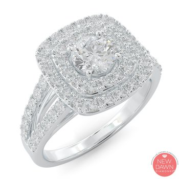 1.30 ctw Diamond Halo Engagement Ring