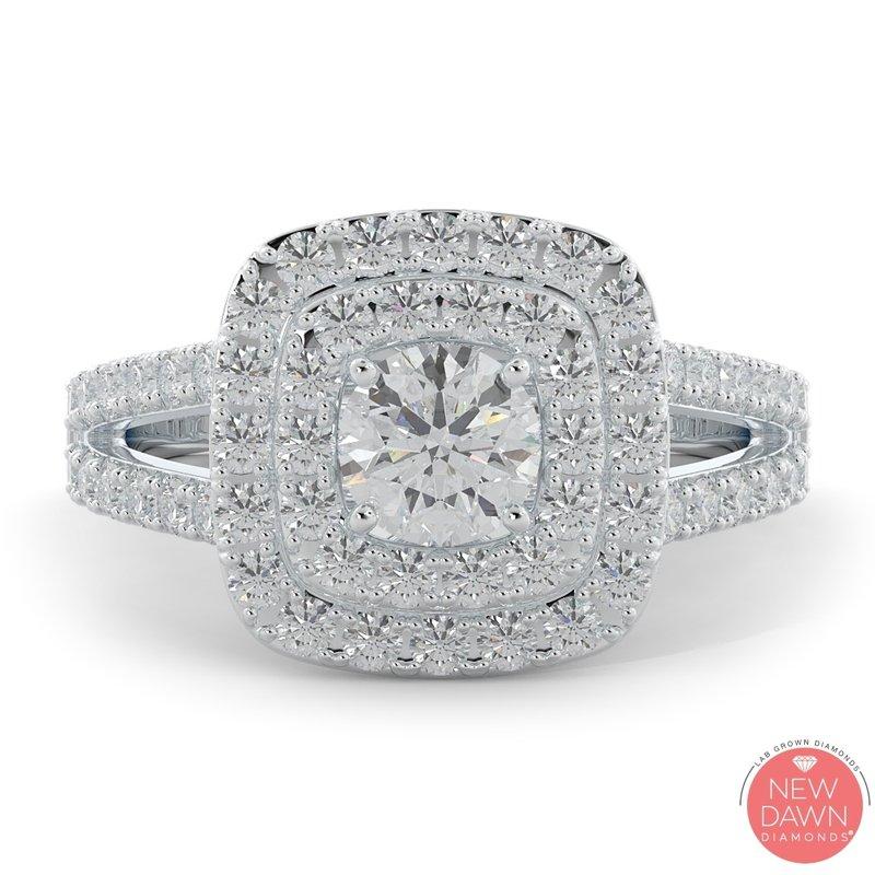 Lab Grown Diamonds 1.30 ctw Diamond Halo Engagement Ring
