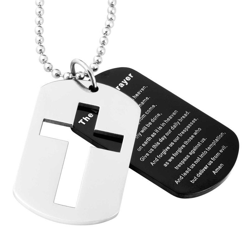 Gifts That Rock Steel Lord's Prayer Cross Dog Tag Necklace