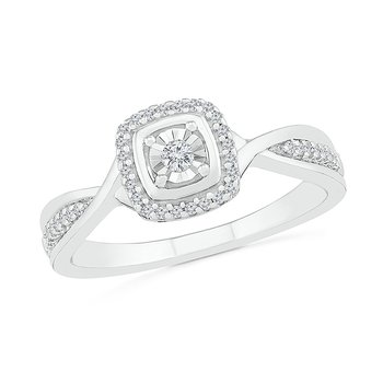 .12ctw Square Cluster Ring