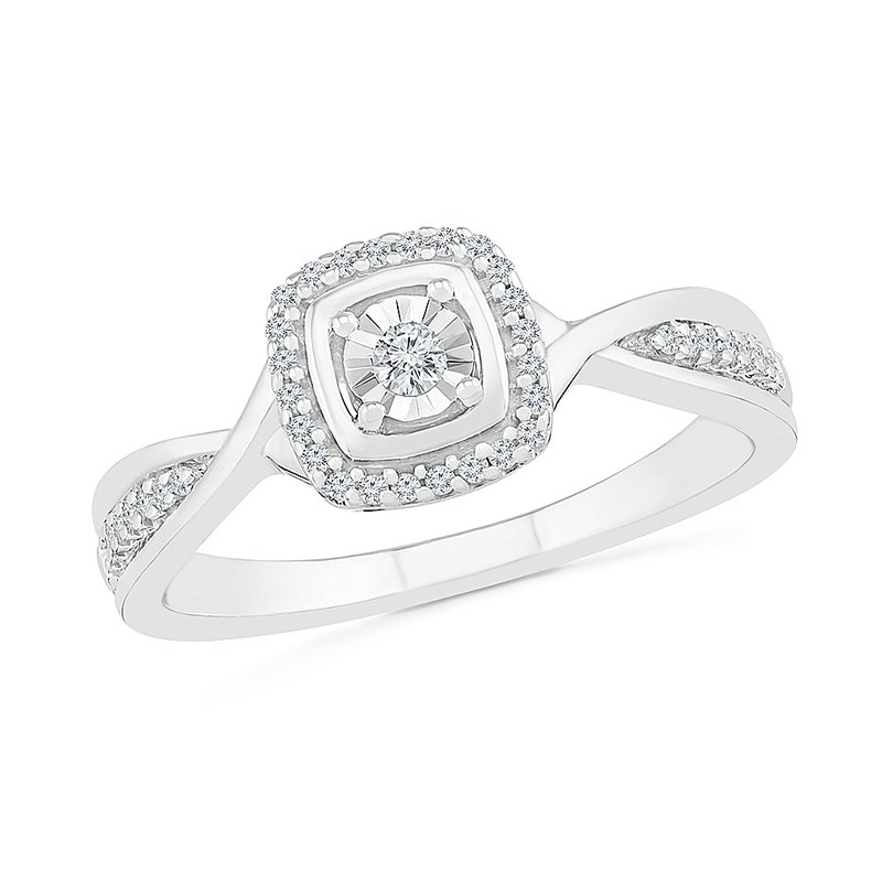 Gifts That Rock .12ctw Square Cluster Ring