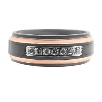 8mm Black Tungsten/Rose Diamond Band