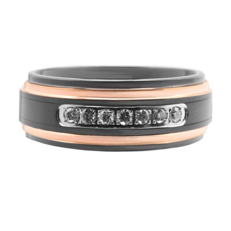Saslow's & Henebry's Collection 8mm Black Tungsten/Rose Diamond Band