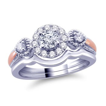 14K White Pink & Gold 01/2 Cttw . Band Features  1/4 Ct Center 1/4Ct Of Royal Colorless Diamonds