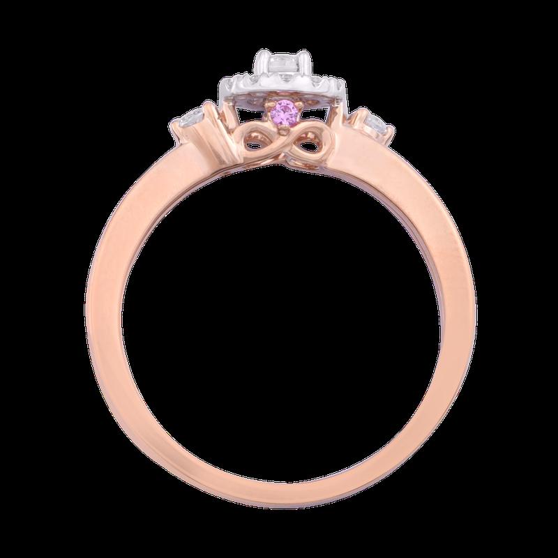 Saslow's & Henebry's Collection 1/4ctw Round Halo Promise Ring 10KW/R