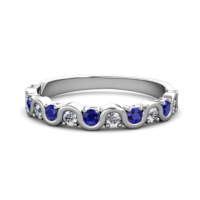 "Novell ""The Royal"" Sapphire & Diamond Wave Ring"