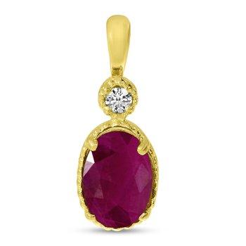 10K Yellow Gold Oval Ruby Millgrain Birthstone Pendant