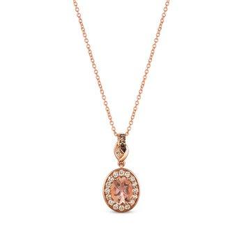 Rose Gold Oval Morganite Pendant