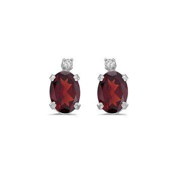 14k White Gold Oval Garnet And Diamond Earrings