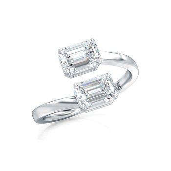 Horizontal Set Emerald Cut Diamond Two Stone Ring