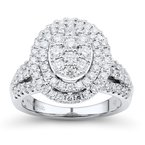 Lab Grown Diamonds 1.5ctw Lab Grown WG Double Halo Engagement Ring