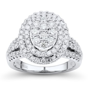 1.5ctw Lab Grown WG Double Halo Engagement Ring