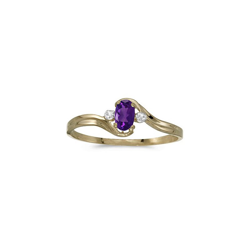 Birthstone Collection 10K Yellow Gold Oval Amethyst And Diamond Ring
