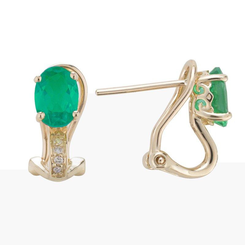 Birthstone Collection 14ky Emerald / Diamond Earrings