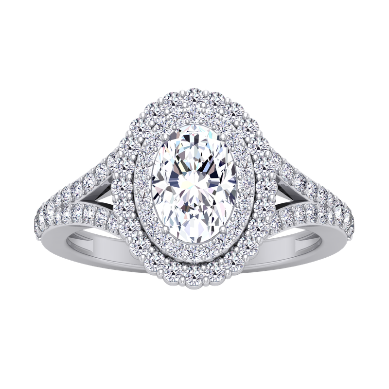 Lab Grown Diamonds Certified 1 1/2ctw Oval Double Halo Engagement Ring