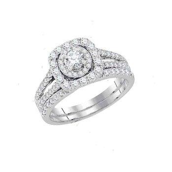 14kt White Gold Womens Round Diamond Bridal Wedding Engagement Ring Band Set 1-1/2 Cttw