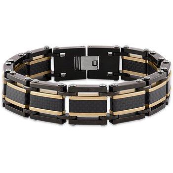 Yellow and Black Carbon Fiber Steel Bracelet