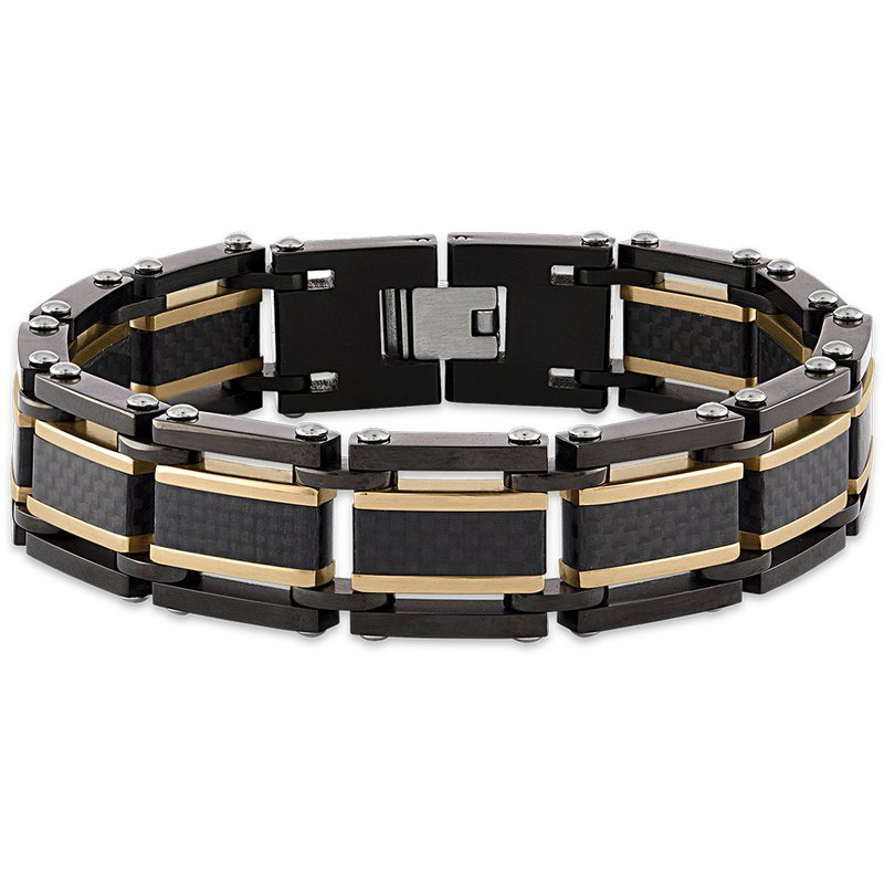 Esquire Men's Jewelry Yellow and Black Carbon Fiber Steel Bracelet