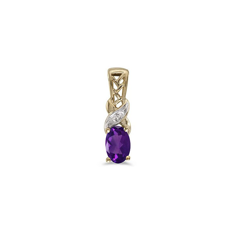 Birthstone Collection 10K Yellow Gold Oval Amethyst And Diamond Pendant