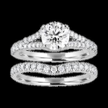 Certified 1.25ctw Round Center Bridal Set