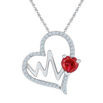 EKG Necklace W/ Ruby