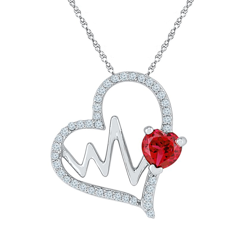 Gifts That Rock EKG Necklace W/ Ruby