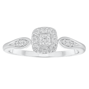 Sterling Silver 1/4ctw Diamond Halo Ring