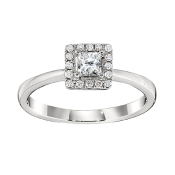 Gold Casters Diamond Princess Cut Halo Engagement Ring
