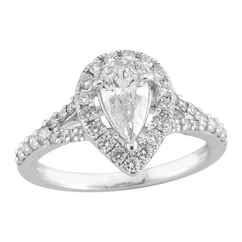 Gold Casters Diamond Pear Woven Halo Engagement Ring