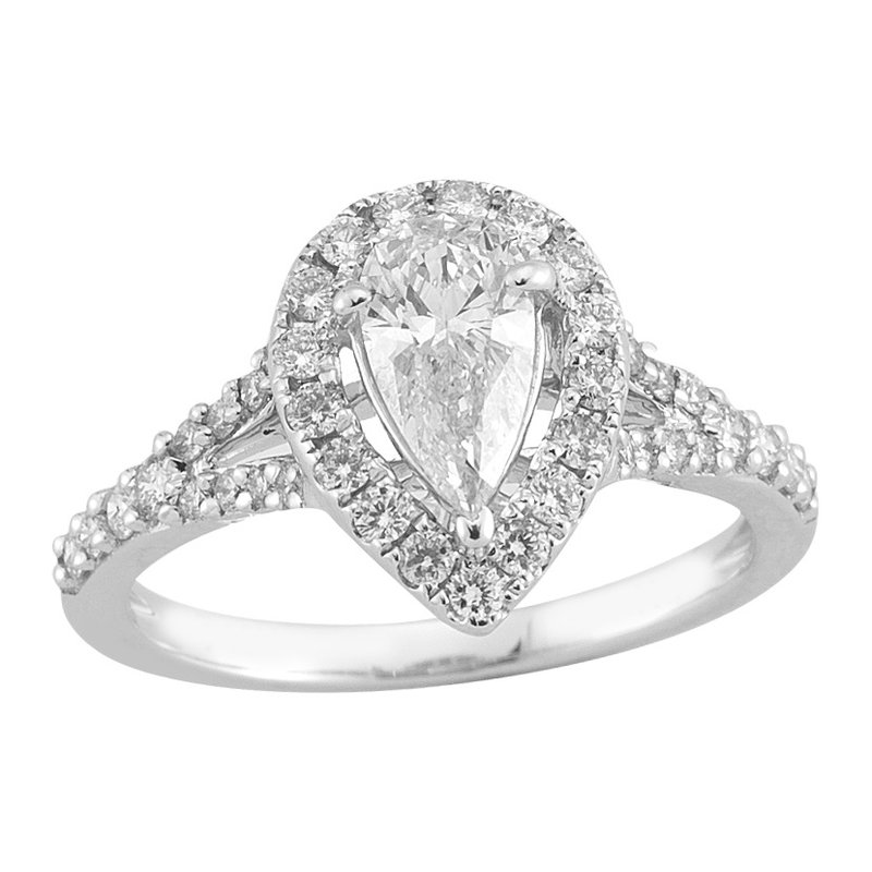 Gold Casters Bridal Collection Gold Casters Diamond Pear Woven Halo Engagement Ring